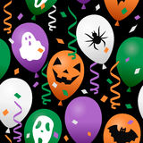 Halloween Confetti & Balloons Seamless. A Halloween seamless pattern with colorful party balloons, streamers and confetti, in four different colors (orange Royalty Free Stock Image
