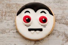 Halloween cookie with shape Dracula face Stock Photos
