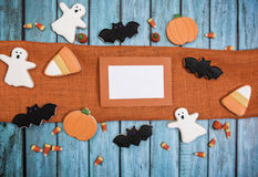 Halloween Cookies background. Halloween cookies decorated with icing Stock Image