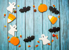 Halloween Cookies background. Halloween cookies decorated with icing Royalty Free Stock Photos