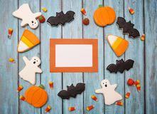 Halloween Cookies background. Homemade Halloween Cookies decorated with icing Royalty Free Stock Photography