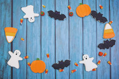 Halloween Cookies background. Homemade Halloween Cookies decorated with icing Stock Image