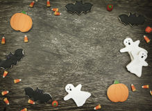 Halloween Cookies background. Homemade Halloween Cookies decorated with icing Stock Photos
