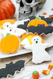 Halloween Cookies background. Homemade Halloween Cookies decorated with icing Royalty Free Stock Image