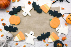 Halloween Cookies background. Homemade Halloween Cookies decorated with icing Royalty Free Stock Photos