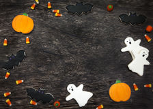 Halloween Cookies background. Homemade Halloween Cookies decorated with icing Stock Photography