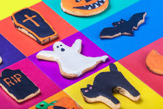 Halloween cookies on a colored background Royalty Free Stock Photography