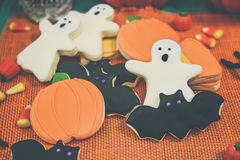 Halloween Cookies. Decorated with icing Stock Photo