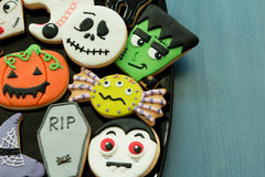 Halloween cookies with different shapes stock photo