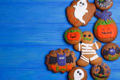 Halloween cookies with funny decorations made of confectionery m stock photos