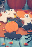 Halloween Cookies. Homemade Halloween Cookies decorated with icing Stock Images