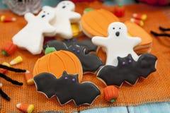 Halloween Cookies. Homemade Halloween Cookies decorated with icing Stock Photo