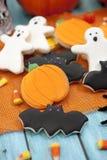 Halloween Cookies. Homemade Halloween Cookies decorated with icing Stock Photos
