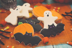 Halloween Cookies. Homemade Halloween Cookies decorated with icing Stock Photography