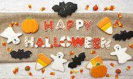 Halloween Cookies. Homemade Halloween Cookies decorated with icing Stock Image
