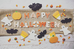 Halloween Cookies. Homemade Halloween Cookies decorated with icing Royalty Free Stock Photos