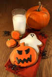Halloween cookies with milk Royalty Free Stock Photos