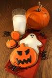 Halloween cookies with milk Royalty Free Stock Photos