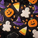 Halloween cookies decorated with royal icing royalty free stock photo
