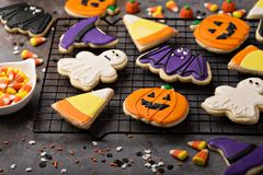 Halloween cookies decorated with royal icing royalty free stock photos