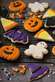 Halloween cookies decorated with royal icing stock photos