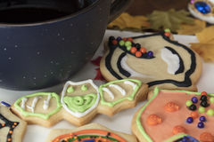 Halloween Cookies on a White Ceramic Plate Stock Photo
