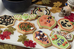 Halloween Cookies on a White Ceramic Plate Royalty Free Stock Photography