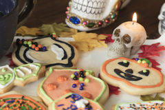Halloween Cookies on a White Ceramic Plate Royalty Free Stock Image