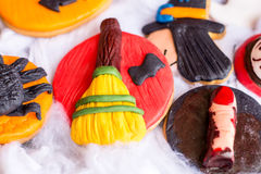 Halloween cookies on white cotton Royalty Free Stock Image