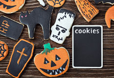 Halloween cookies on a wooden background