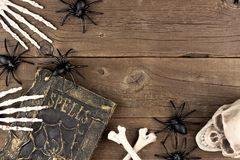 Halloween decor corner border over rustic wood Royalty Free Stock Photography