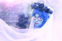 Halloween corspe bride. Girl in Corpse bride costume for Halloween party Royalty Free Stock Photos