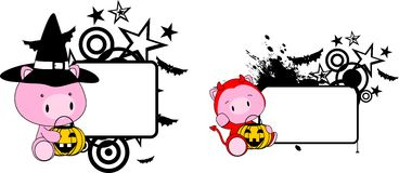 Halloween costume baby pig cartoon set Stock Images