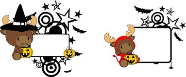 Halloween costume baby reindeer cartoon set Stock Photo
