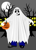 Halloween costume. Boy in Halloween costume with pumpkin stock illustration
