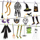 Halloween Costume Clothesline Clip Art. Isolated on white Stock Images