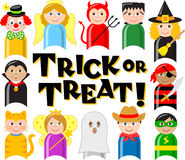 Halloween Costume Kids/eps. Cute cartoon illustrations of kids in halloween costumes with the headline Trick or Treat Royalty Free Stock Image