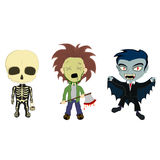 Halloween Costume Kids. A vector illustration of 3 kids in halloween costumes, a skeleton with a basket, an axe murderer with a bloody axe and a vampire with a Royalty Free Stock Images