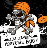 Halloween vector poster costume party skull Royalty Free Stock Photos