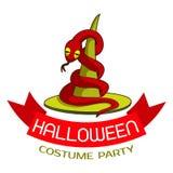Halloween costume party logo, cartoon style stock illustration