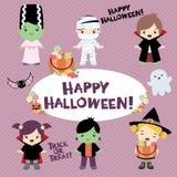 Halloween Costumed Children. This Halloween costumed kids vector set includes 6 costumed children. A witch, Frankenstein, Frankenstein`s bride, a vampire vector illustration