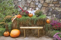 Halloween costumed scarecrows. Great Smoky Mountain National Park. Tennessee USA. Halloween Season with scarecrows and `spooky` dummy Royalty Free Stock Photos
