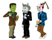 Halloween Costumed three men,Isolated Stock Image