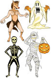 Halloween costumes. Illustration of halloween scary monsters costumes Stock Photo