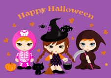 Halloween Costumes. Happy Halloween card with three cute masked kids. Vector Illustration. Perfect for party invitations Royalty Free Stock Photo