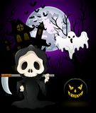 Halloween costumes grim reaper with pumpkin and ghost on haunted castle background Royalty Free Stock Photography