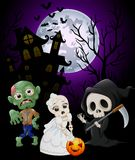 Halloween costumes grim reaper with skull bride and zombie on haunted castle background Stock Photography
