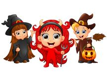 Halloween costumes kids with girl evil and witch girl and boy Royalty Free Stock Photo