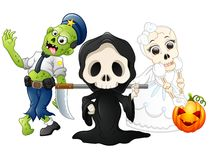 Halloween costumes kids with grim reaper, skull bride and zombie. Illustration of Halloween costumes kids with grim reaper, skull bride and zombie Royalty Free Stock Photos