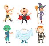 Halloween costumes for kids. Zombie, vampire, witch and funny ghost. Set of costume for halloween party, vector illustration Stock Photo